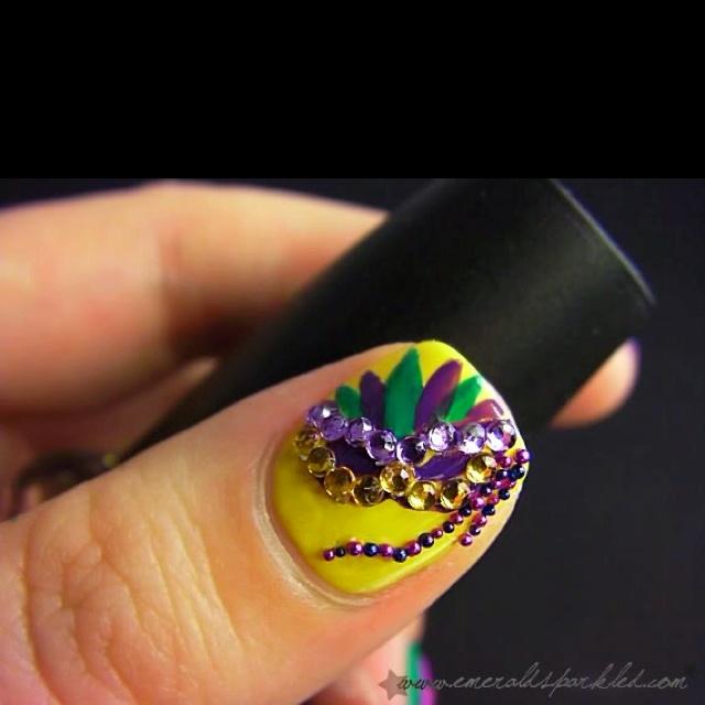 love this! mardi gras nail . - Mardi Gras Nail Designs Nail Designs, Hair Styles, Tattoos And
