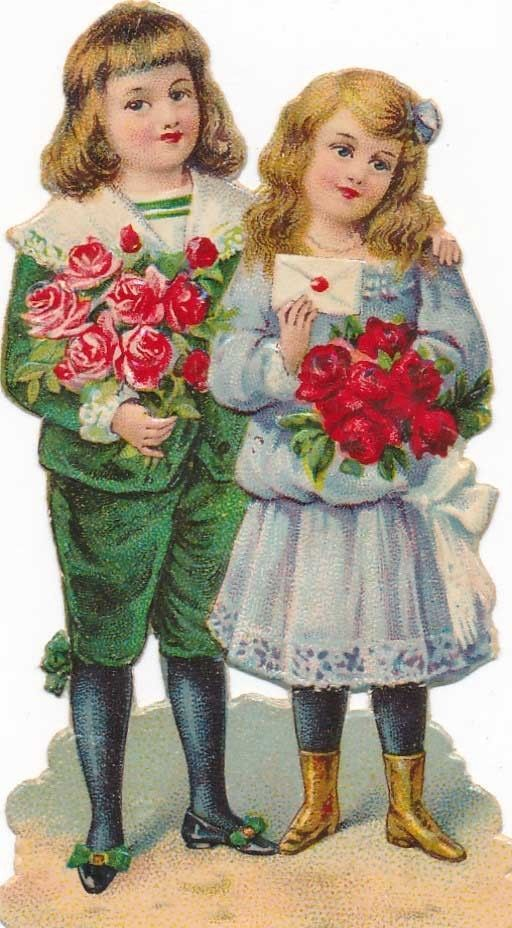 Tiny Victorian Era Valentine Cutout Sweethearts w Roses Die Cut Embossed Litho