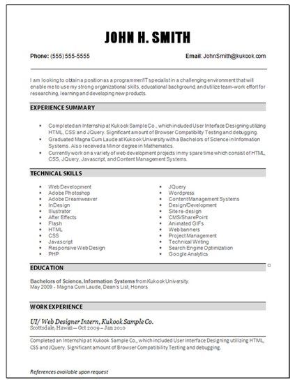 entry level it resume it resumes