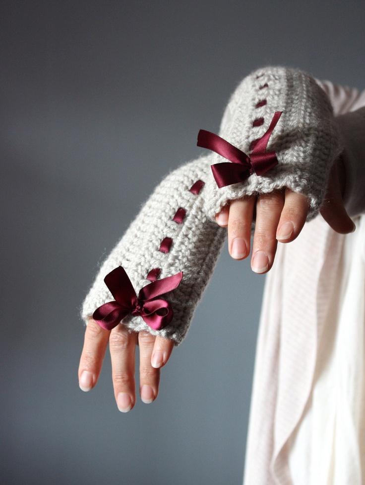 Crochet Fingerless Gloves Grey linen  Mittens Arm Warmers  satin ribbon red / burgundy wine cloud  Silver Rain bow.