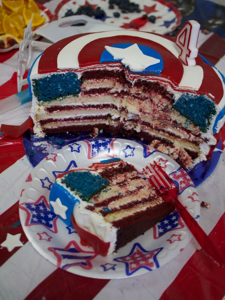 best captain america/ fourth of july cake. ever. EVER. even when you cut into it, you get the stars and stripes design. SO ridiculously awesome