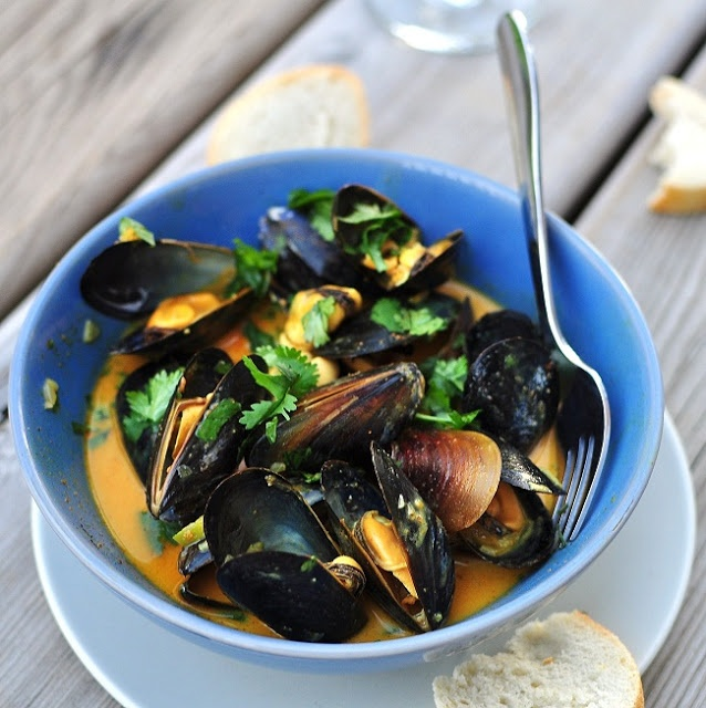 Mussels with Coconut Curry Lime Sauce and Cilantro