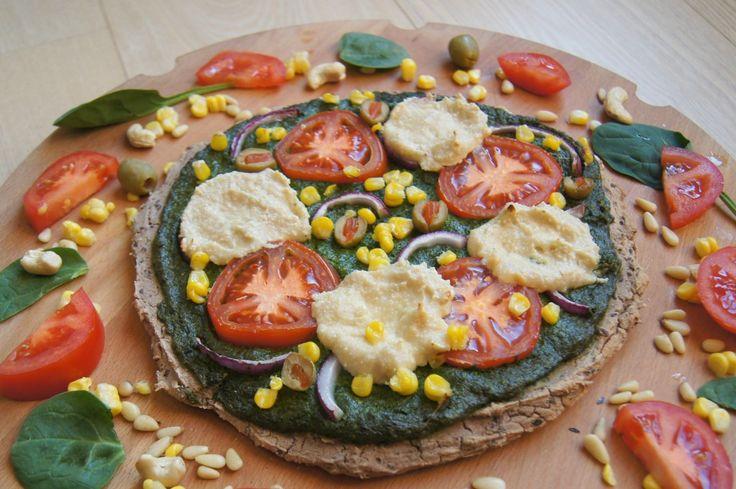 Pizza with Spinach Pesto & Cashew Mozzarella Cheese