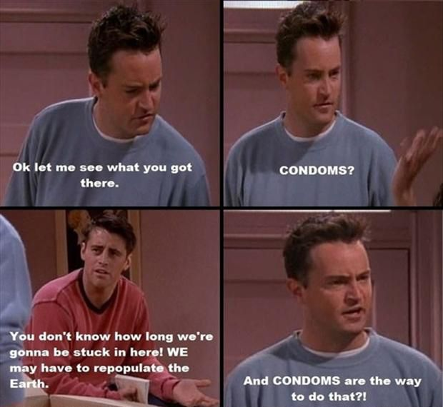 chandler, joey, monica n phoebe trapped in monica's room while rach n ross were having a fight in the living room