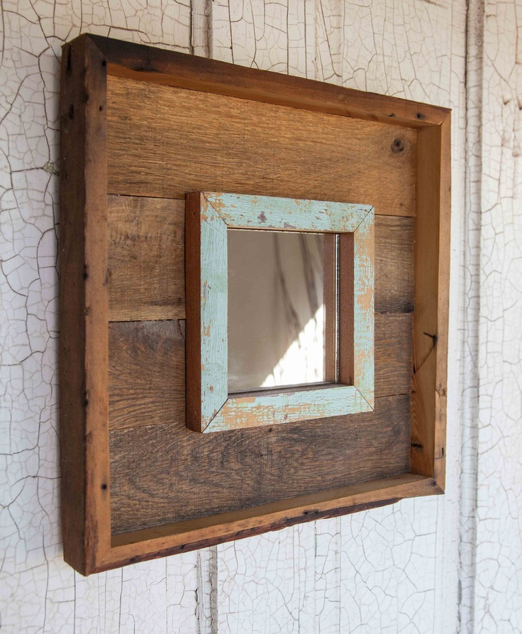 vintage wood and pallet mirror