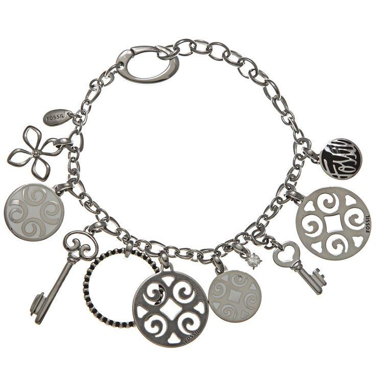 Fossil Jewelry Women s Stainless Steel Charm Bracelet