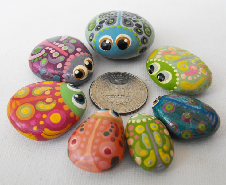Hand Painted Rocks - A Bowl Full of Bug Rocks - Interactive Art Piece - Cute Lil' Buggers. $200.00, via Etsy.
