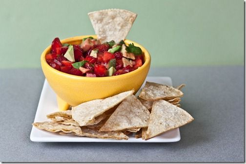 SALT AND LIME TORTILLA CHIPS WITH STRAWBERRY AVOCADO SALSA