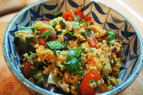Spicy roast tomato and red onion bulgar wheat salad