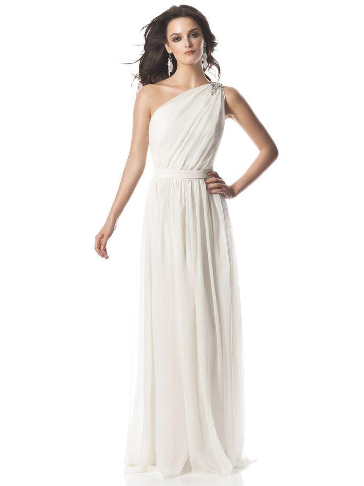 Grecian one shoulder wedding dress meg 39 s wedding for One shoulder wedding dress