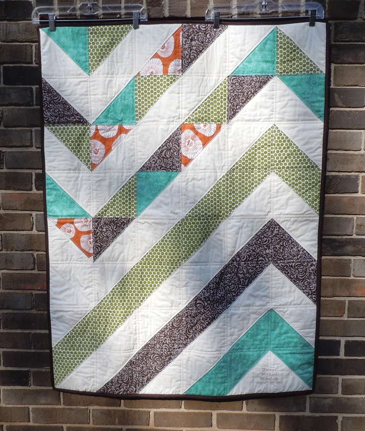 Modern chevron baby quilt - I made for my nephew. Brown minky backing ...