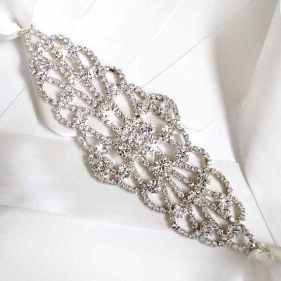 wide silver wedding dress sash rhinestone encrusted