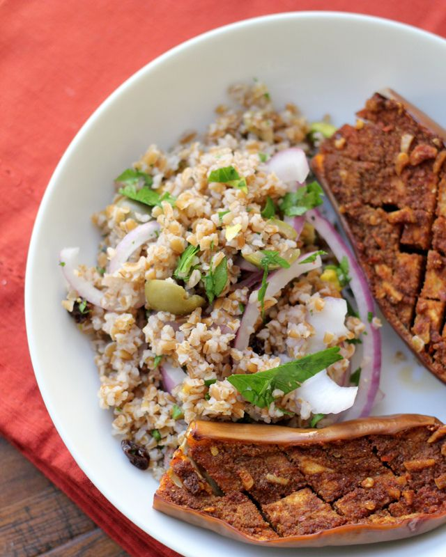 Joanne Eats Well With Others | Spiced Eggplant with Bulgur Salad