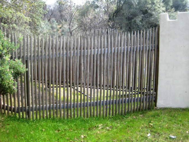Lodge pole pine stake fence backyard rustic design