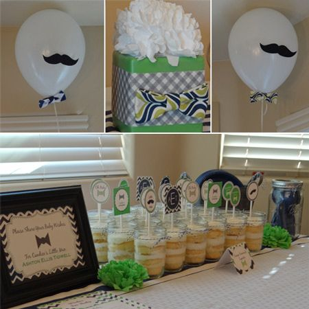 little man baby shower in love with the bow ties on the balloons