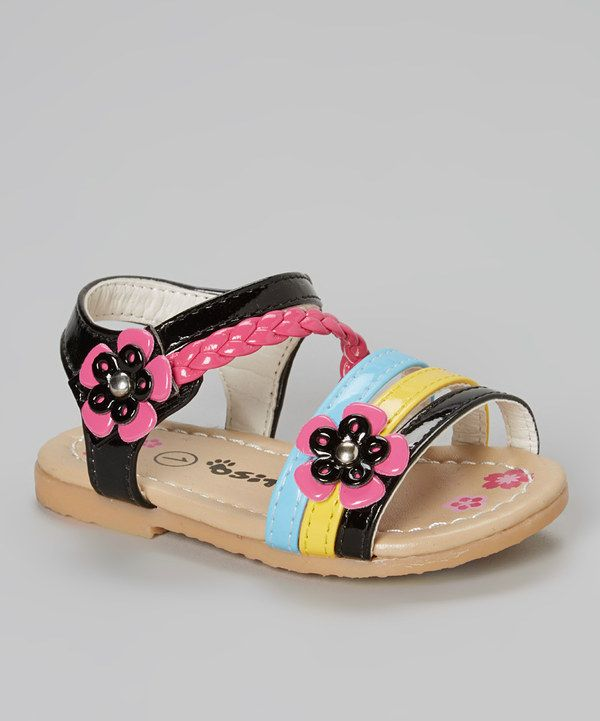 zulily! Ositos Shoes Black Flower Sandal by Ositos Shoes #zulilyfinds