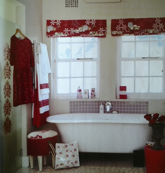 Red And White Bathroom Home Pinterest