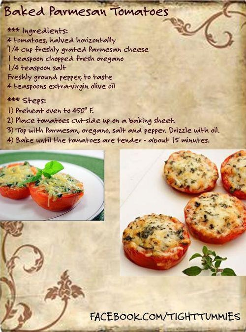 Baked Parmesan Tomatoes   Grub Time ~ Lunch, Dinner, and Sides   Pint ...