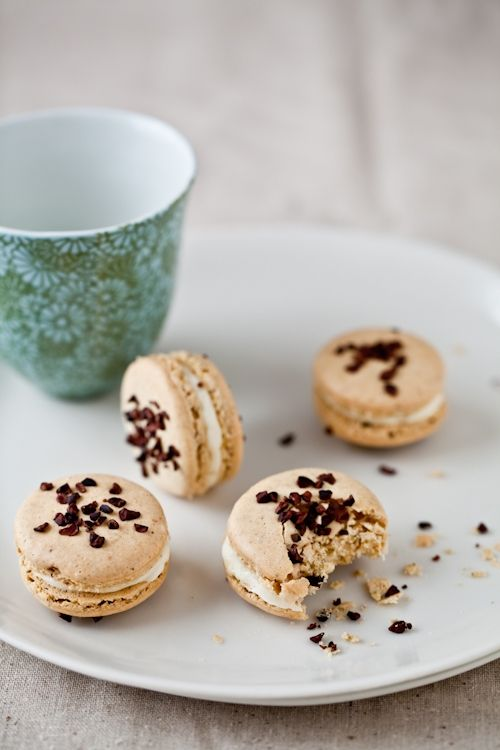 Pistachio - Cocoa Nib Macarons With Bourbon Buttercream