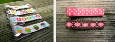 ribbon covered hair clips -- she also has embellishment ideas.