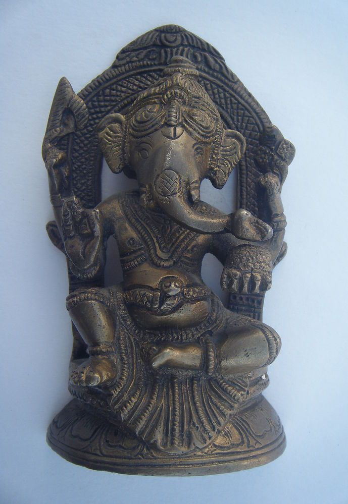 Religious GANESHA Brass Statu Traditional Indian Elephant ...