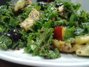 Raw Kale Salad with Coconut Fried Polenta and Fruits of Summer ...