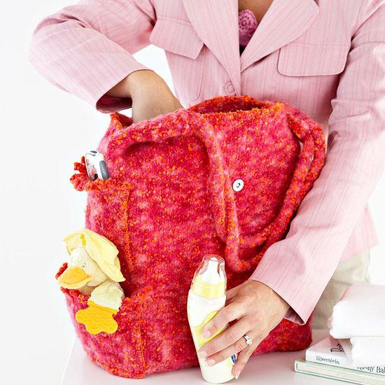 Crochet Diaper Bag Pattern Free : Easy Knitted Diaper Bag