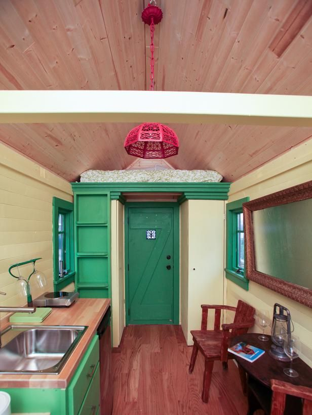 Meg put the closet and bathroom at the front of the house to create a mini-foyer.  By Meg Caswell, winner of Design Star (season 6.) #tinyhouse #smallspaces #floorplan