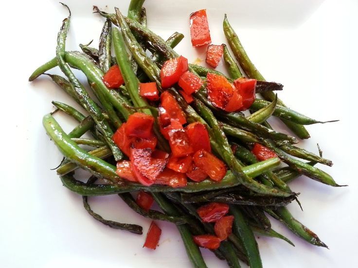 Green Bean Frites with roasted red peppers! Grean Bean Makeover! www ...