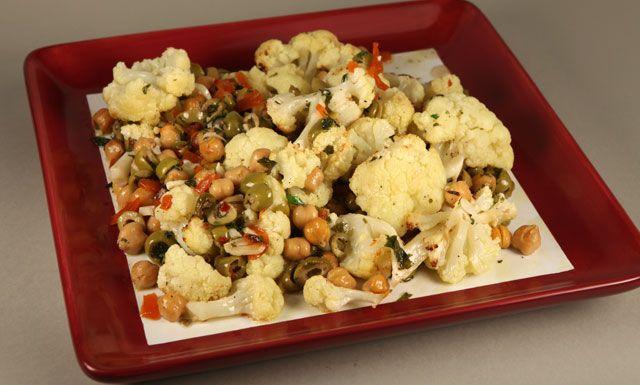 roasted cauliflower chickpeas and olives