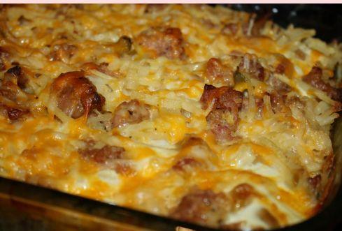 best yumy recipes: Cheesy Hashbrown Sausage Breakfast Casserole