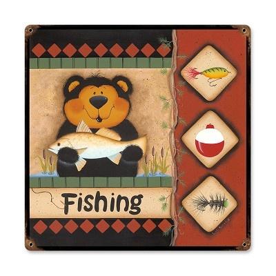 Fishing bear vintage metal sign fishing signs pinterest for Vintage fishing signs