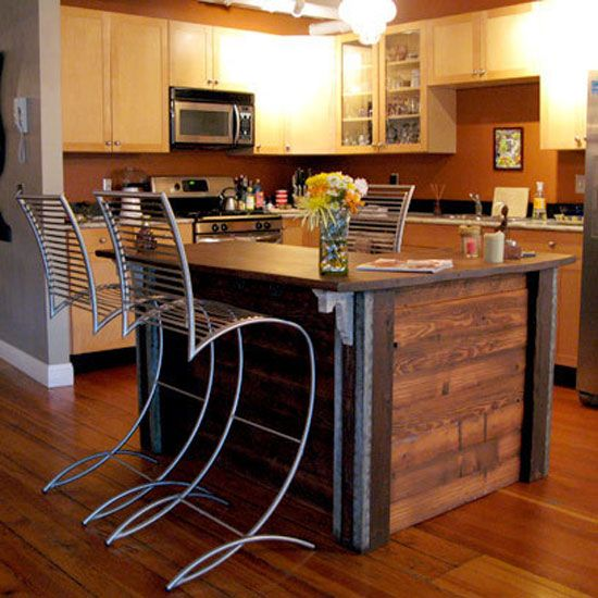Reclaimed wood kitchen island.  For the Home  Pinterest