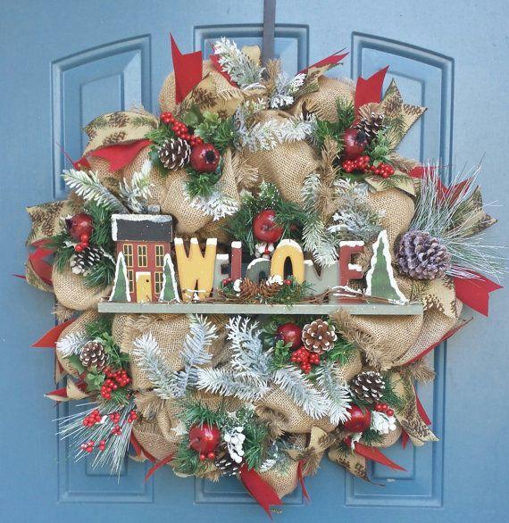 welcome christmas wreath on - photo #21