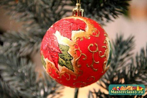 decoupaged and painted Christmas ornament
