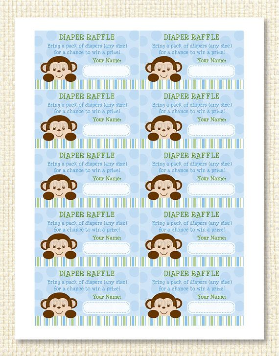 Go Back > Gallery For > Printable Monkey Diaper Raffle Tickets