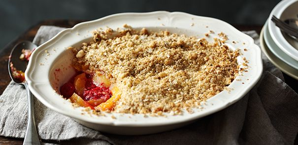 Peach and raspberry crumble wow it looks so yummy in my tummy