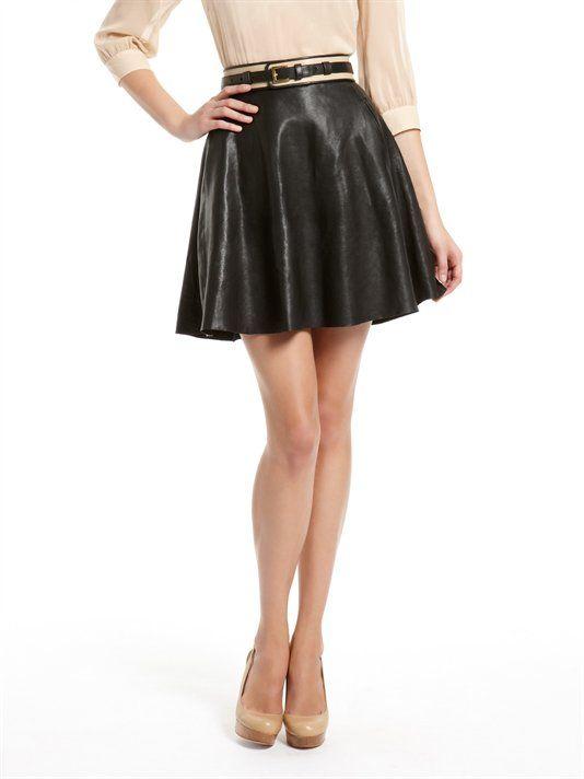 leather circle skirt dkny fashion