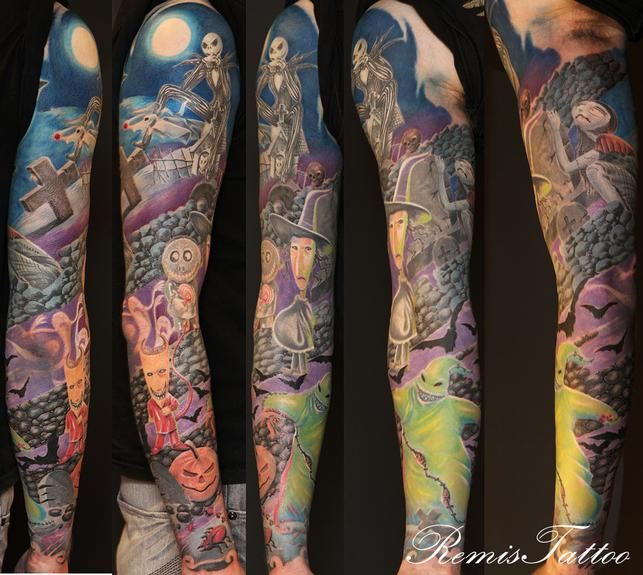 The Nightmare Before Christmas sleeve | I ♥ tattoos | Pinterest