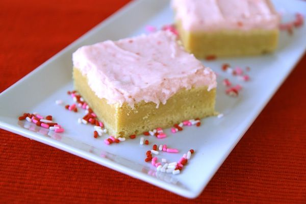 Lemon sugar cookie bars with strawberry buttercream frosting | Recipe