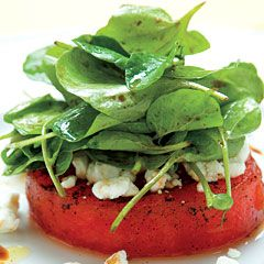 Grilled Watermelon Salad with goat cheese, balsamic vinegar, arugula