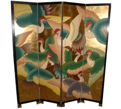 Art Deco Asian 4-panel Folding Screen - double sided | Modernism