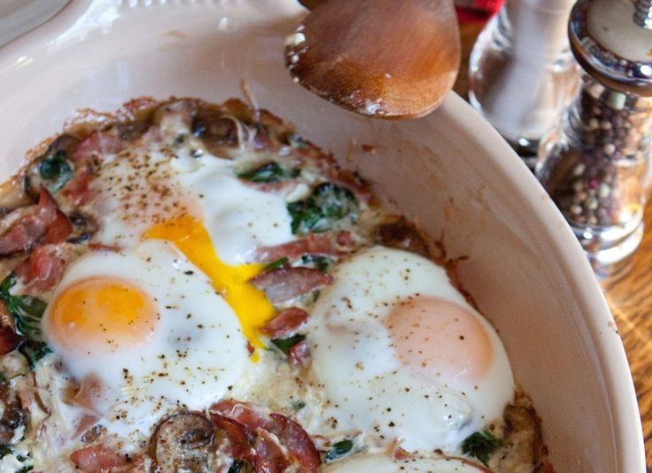Baked Eggs with Ham, Mushrooms, and Greens