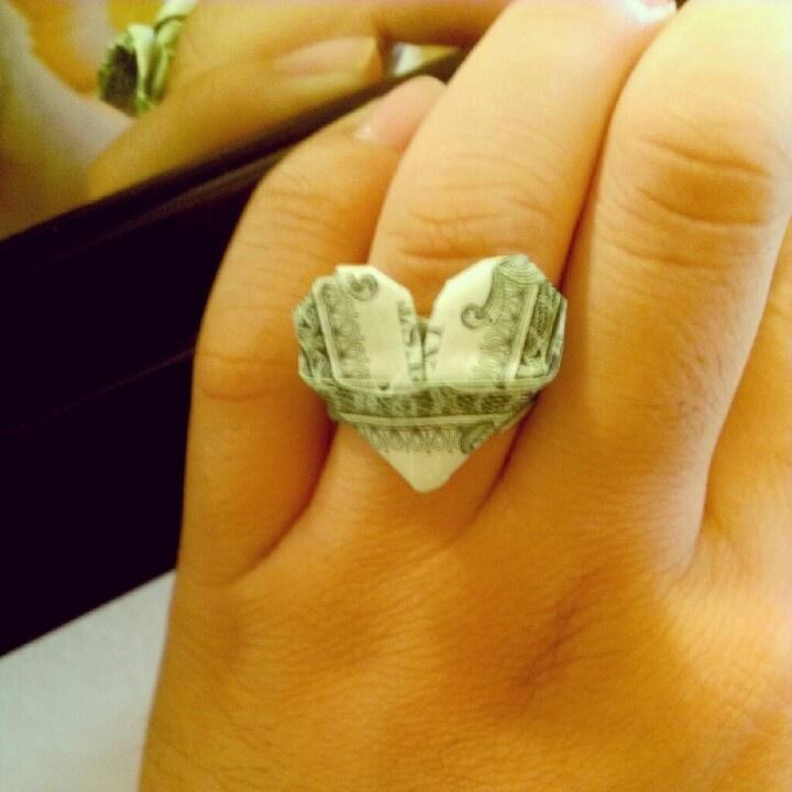 dollar origami heart ring money designs pinterest