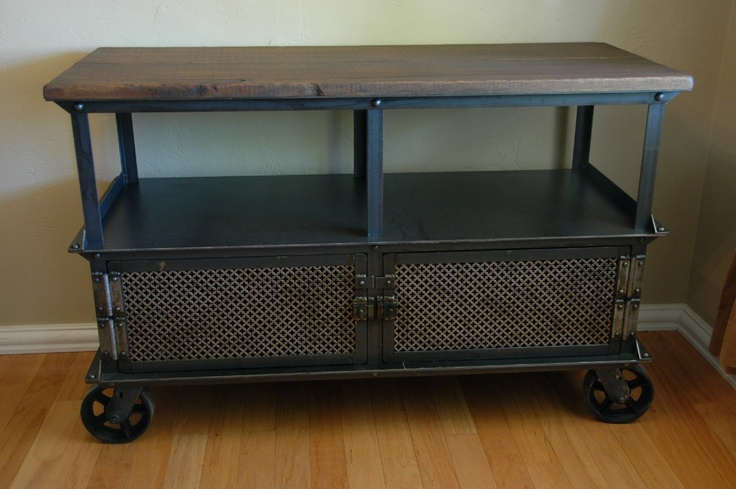 Vintage Industrial Media Console Table Mid Century