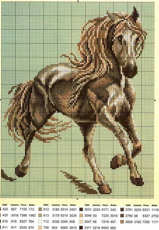 Схема вышивки крестом лошади большого размера 41