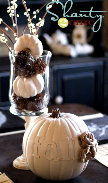 Fall white pumpkin with letters and shabby Rose. Love the mini white pumpkins and pine cones too.  (add: custom monogramed/dated chocolate wrappers. $7... 10 color choices! www.customweddingprintabes.com