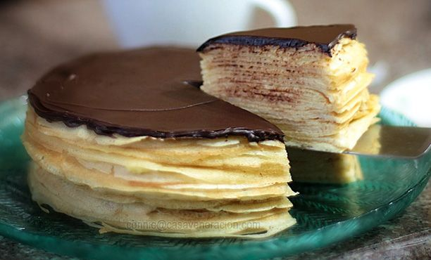 Custard-filled crepes cake with dark chocolate ganache topping | Reci ...