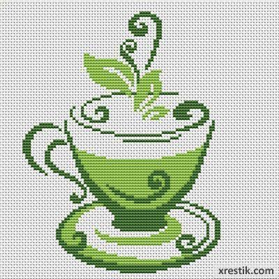 Вышивка крестом чашка для чая 345