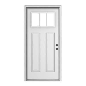 Jeld wen door premium 3 lite craftsman primed white steel for Home depot craftsman door